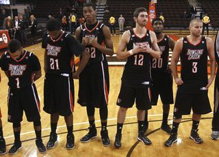 "BG players in ""black"" uniforms v. Detroit"