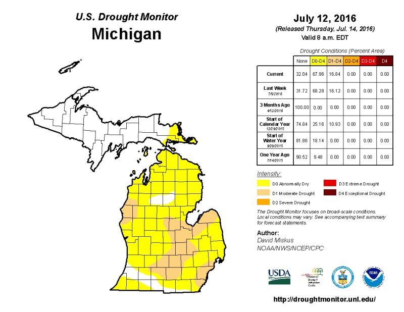 US Drought Monitor Michigan JPEG